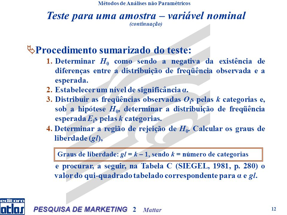 Mattar PESQUISA DE MARKETING 2 12 Teste para uma amostra – variável nominal (continuação) Métodos de Análises não Paramétricos Procedimento sumarizado do teste: 1.Determinar H 0 como sendo a negativa da existência de diferenças entre a distribuição de freqüência observada e a esperada.
