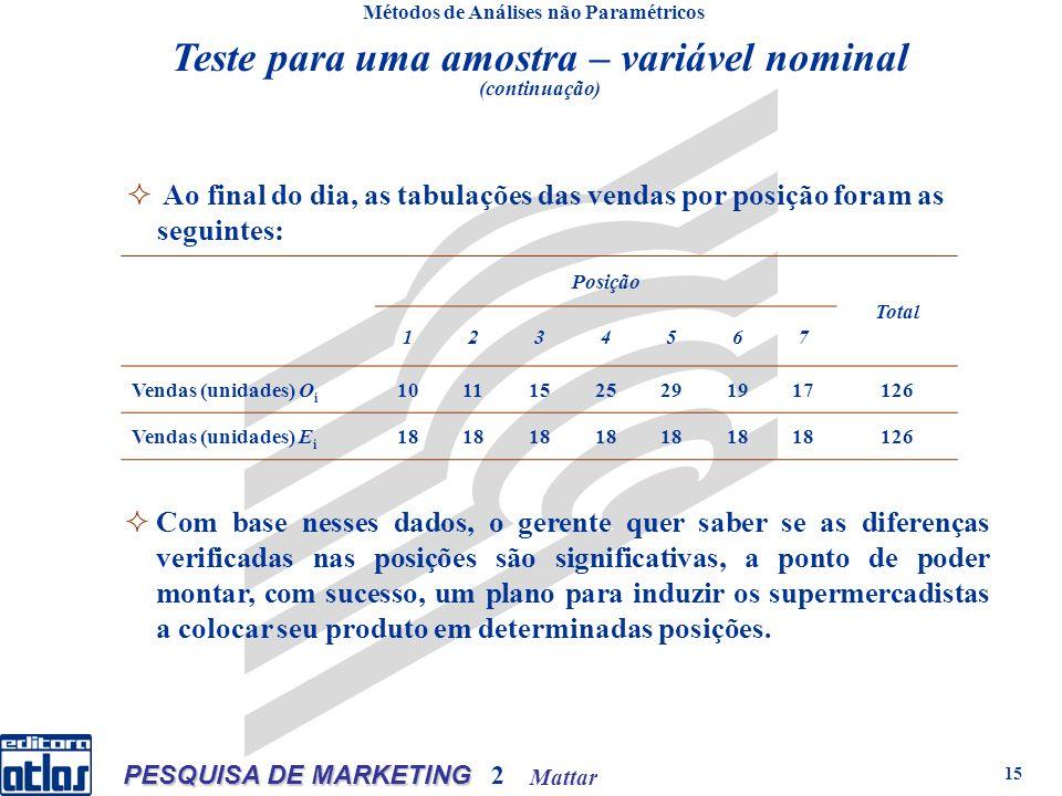 Mattar PESQUISA DE MARKETING 2 15 Métodos de Análises não Paramétricos Posição Total 1234567 Vendas (unidades) O i 10111525291917126 Vendas (unidades)
