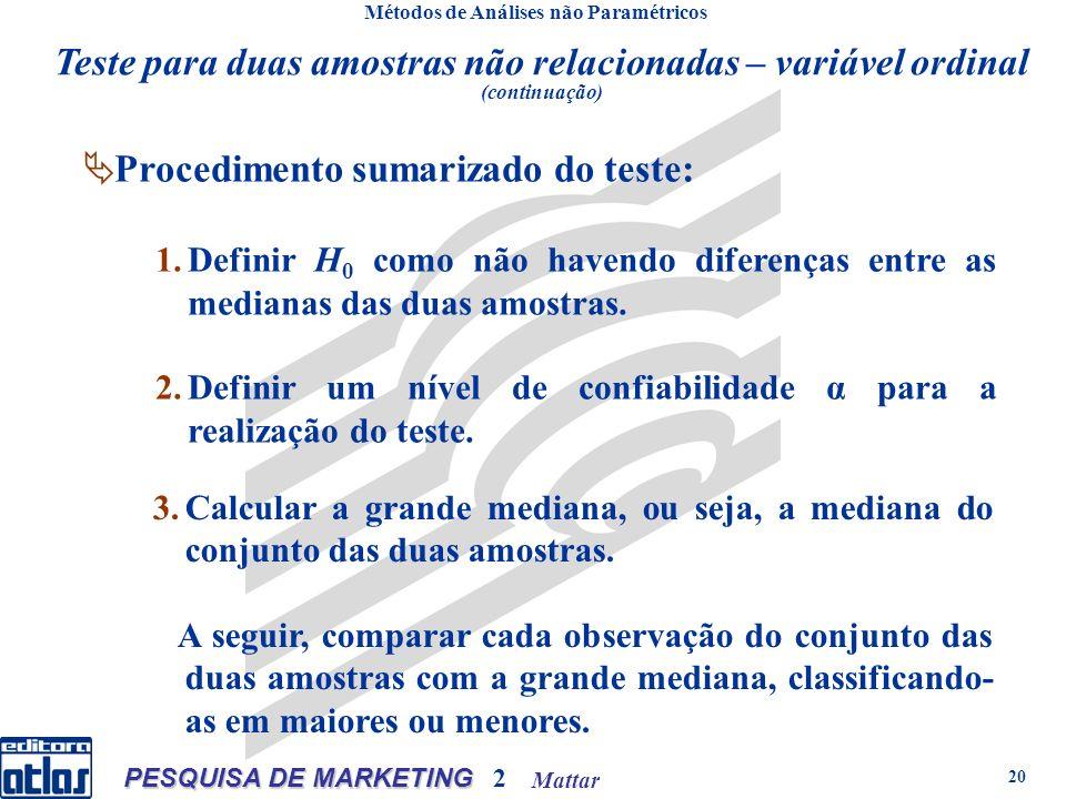 Mattar PESQUISA DE MARKETING 2 20 Métodos de Análises não Paramétricos Procedimento sumarizado do teste: 1.Definir H 0 como não havendo diferenças entre as medianas das duas amostras.