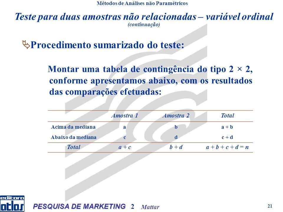 Mattar PESQUISA DE MARKETING 2 21 Métodos de Análises não Paramétricos Procedimento sumarizado do teste: Montar uma tabela de contingência do tipo 2 × 2, conforme apresentamos abaixo, com os resultados das comparações efetuadas: Amostra 1Amostra 2Total Acima da medianaaba + b Abaixo da medianacdc + d Totala + cb + da + b + c + d = n Teste para duas amostras não relacionadas – variável ordinal (continuação)