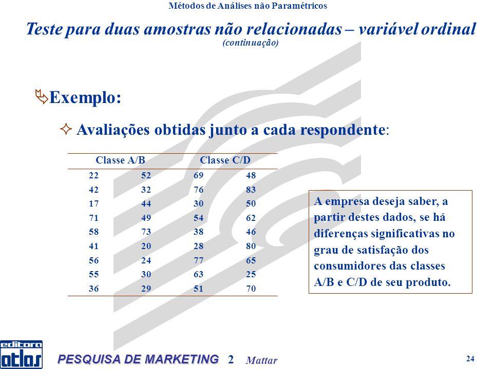 Mattar PESQUISA DE MARKETING 2 24 Métodos de Análises não Paramétricos Exemplo: Avaliações obtidas junto a cada respondente: Classe A/BClasse C/D 22526948 42327683 17443050 71495462 58733846 41202880 56247765 55306325 36295170 A empresa deseja saber, a partir destes dados, se há diferenças significativas no grau de satisfação dos consumidores das classes A/B e C/D de seu produto.