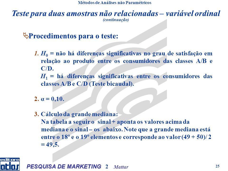 Mattar PESQUISA DE MARKETING 2 25 Métodos de Análises não Paramétricos Procedimentos para o teste: 1.H 0 = não há diferenças significativas no grau de satisfação em relação ao produto entre os consumidores das classes A/B e C/D.