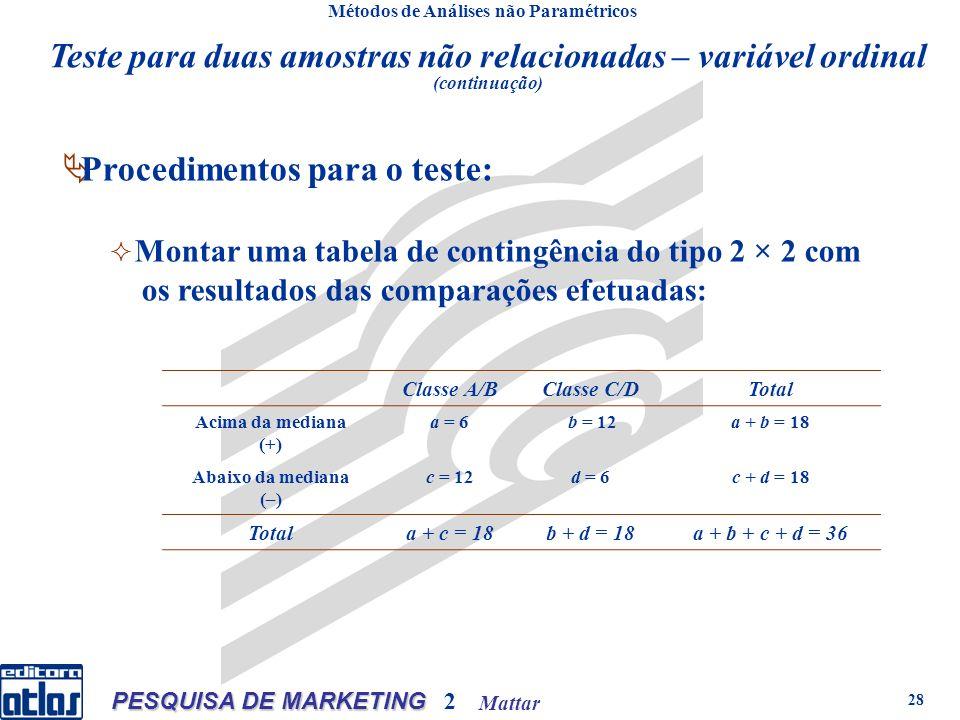 Mattar PESQUISA DE MARKETING 2 28 Métodos de Análises não Paramétricos Procedimentos para o teste: Montar uma tabela de contingência do tipo 2 × 2 com os resultados das comparações efetuadas: Classe A/BClasse C/DTotal Acima da mediana (+) a = 6 b = 12a + b = 18 Abaixo da mediana (–) c = 12d = 6c + d = 18 Totala + c = 18b + d = 18a + b + c + d = 36 Teste para duas amostras não relacionadas – variável ordinal (continuação)
