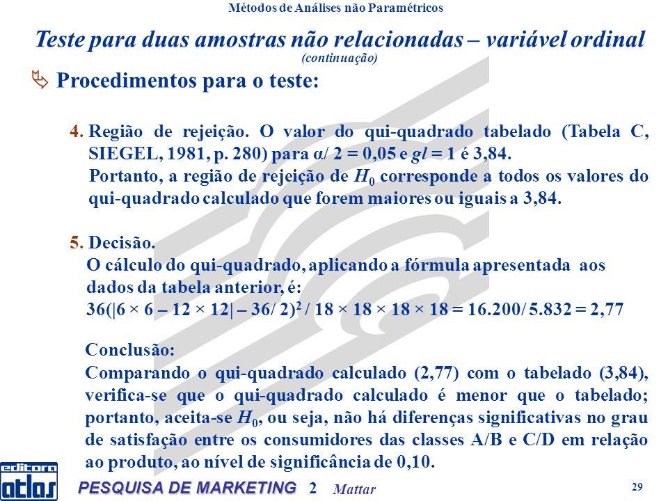 Mattar PESQUISA DE MARKETING 2 29 Métodos de Análises não Paramétricos Procedimentos para o teste: 4.Região de rejeição. O valor do qui-quadrado tabel