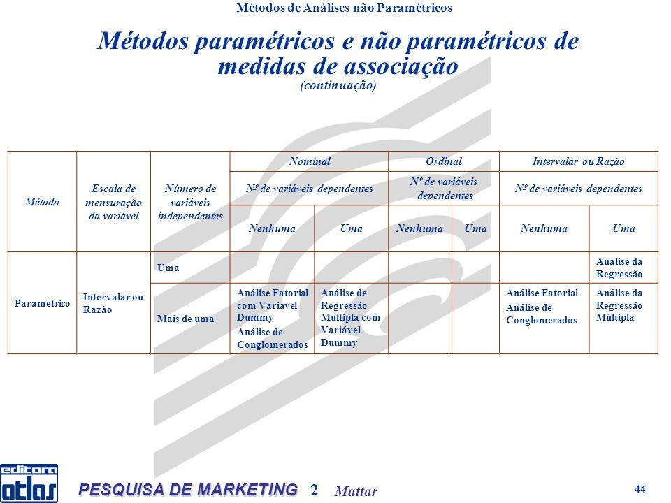 Mattar PESQUISA DE MARKETING 2 44 Métodos de Análises não Paramétricos Método Escala de mensuração da variável Número de variáveis independentes Nomin