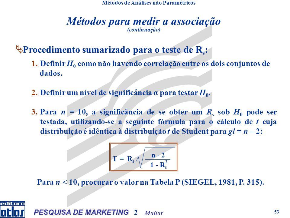 Mattar PESQUISA DE MARKETING 2 53 Métodos de Análises não Paramétricos 1.Definir H 0 como não havendo correlação entre os dois conjuntos de dados.