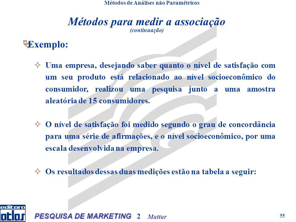 Mattar PESQUISA DE MARKETING 2 55 Métodos de Análises não Paramétricos Uma empresa, desejando saber quanto o nível de satisfação com um seu produto es
