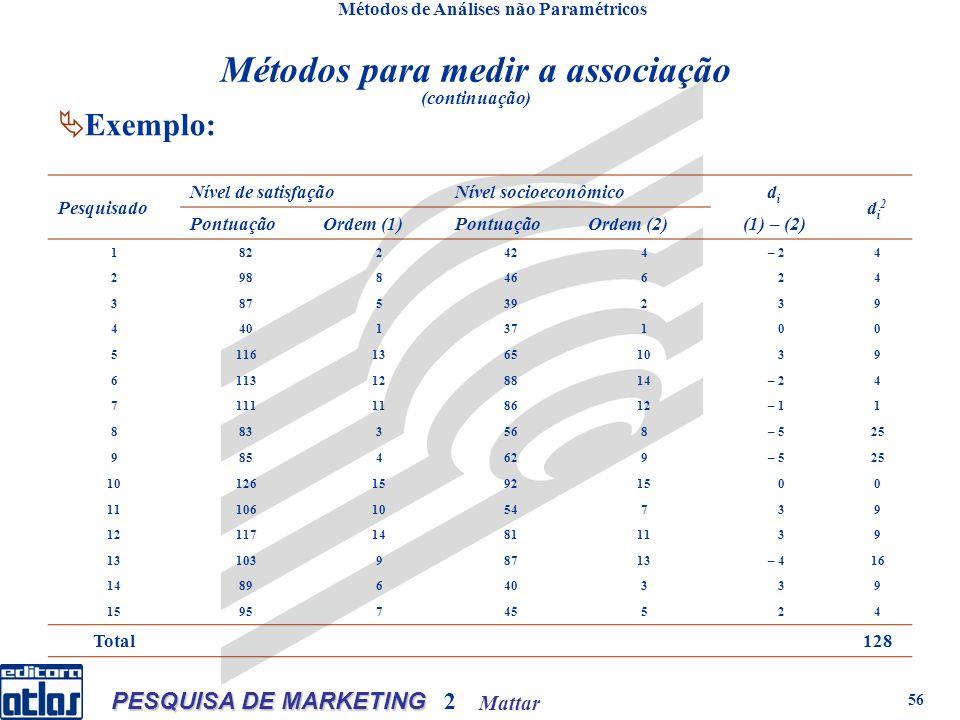 Mattar PESQUISA DE MARKETING 2 56 Métodos de Análises não Paramétricos Exemplo: Métodos para medir a associação (continuação) Pesquisado Nível de sati