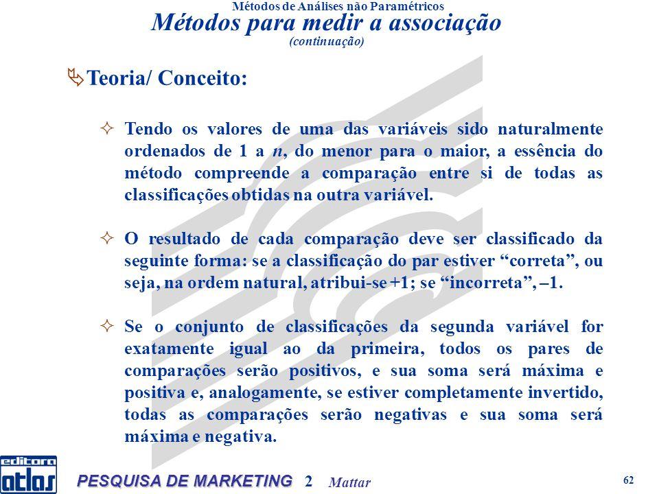 Mattar PESQUISA DE MARKETING 2 62 Métodos de Análises não Paramétricos Teoria/ Conceito: Tendo os valores de uma das variáveis sido naturalmente orden