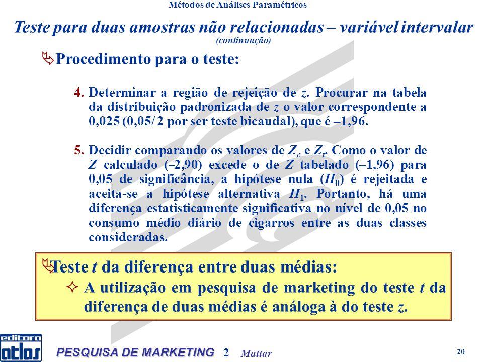 Mattar PESQUISA DE MARKETING 2 20 Métodos de Análises Paramétricos Procedimento para o teste: 4.Determinar a região de rejeição de z.