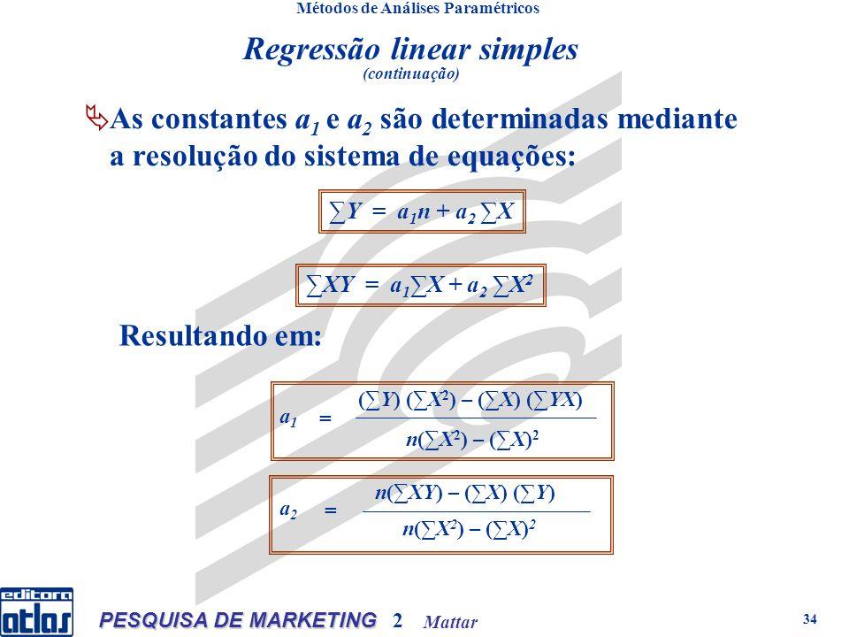 Mattar PESQUISA DE MARKETING 2 34 Métodos de Análises Paramétricos As constantes a 1 e a 2 são determinadas mediante a resolução do sistema de equações: Regressão linear simples (continuação) Y = a 1 n + a 2 X XY = a 1 X + a 2 X 2 (Y) (X 2 ) – (X) (YX) n(X 2 ) – (X) 2 a1a1 = n(XY) – (X) (Y) n(X 2 ) – (X) 2 a2a2 = Resultando em: