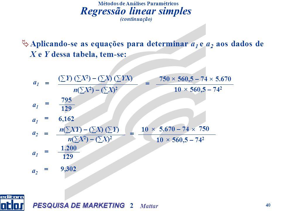 Mattar PESQUISA DE MARKETING 2 40 Métodos de Análises Paramétricos Aplicando-se as equações para determinar a 1 e a 2 aos dados de X e Y dessa tabela, tem-se: (Y) (X 2 ) – (X) (YX) n(X 2 ) – (X) 2 a1a1 = 750 × 560,5 – 74 × 5.670 10 560,5 – 74 2 × = a1a1 = 795 129 a1a1 = 6,162 n(XY) – (X) (Y) n(X 2 ) – (X) 2 a2a2 = 10 × 5.670 – 74 × 750 10 560,5 – 74 2 × = a1a1 = 1.200 129 a2a2 = 9,302 Regressão linear simples (continuação)