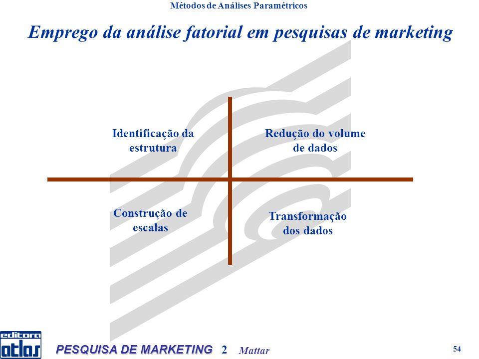 Mattar PESQUISA DE MARKETING 2 54 Métodos de Análises Paramétricos Emprego da análise fatorial em pesquisas de marketing Identificação da estrutura Redução do volume de dados Construção de escalas Transformação dos dados