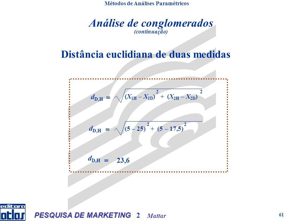Mattar PESQUISA DE MARKETING 2 61 Distância euclidiana de duas medidas Métodos de Análises Paramétricos d D,H = (X 1H – X 1D ) + (X 2H – X 2D ) 2 2 d D,H = (5 – 25) + (5 – 17,5) 2 2 d D,H = 23,6 Análise de conglomerados (continuação)