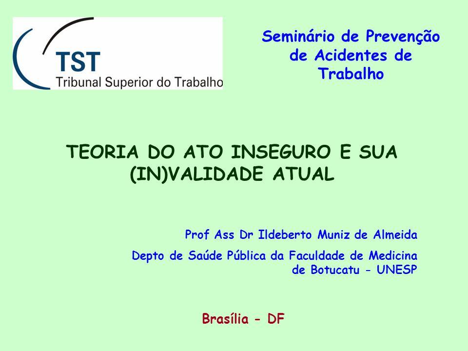 Brasília - DF Seminário de Prevenção de Acidentes de Trabalho TEORIA DO ATO INSEGURO E SUA (IN)VALIDADE ATUAL Prof Ass Dr Ildeberto Muniz de Almeida D