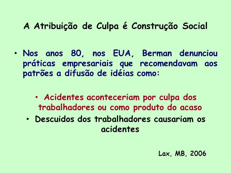 A Atribuição de Culpa é Construção Social Nos anos 80, nos EUA, Berman denunciou práticas empresariais que recomendavam aos patrões a difusão de idéia