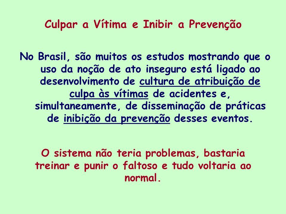 Culpar a Vítima e Inibir a Prevenção No Brasil, são muitos os estudos mostrando que o uso da noção de ato inseguro está ligado ao desenvolvimento de c