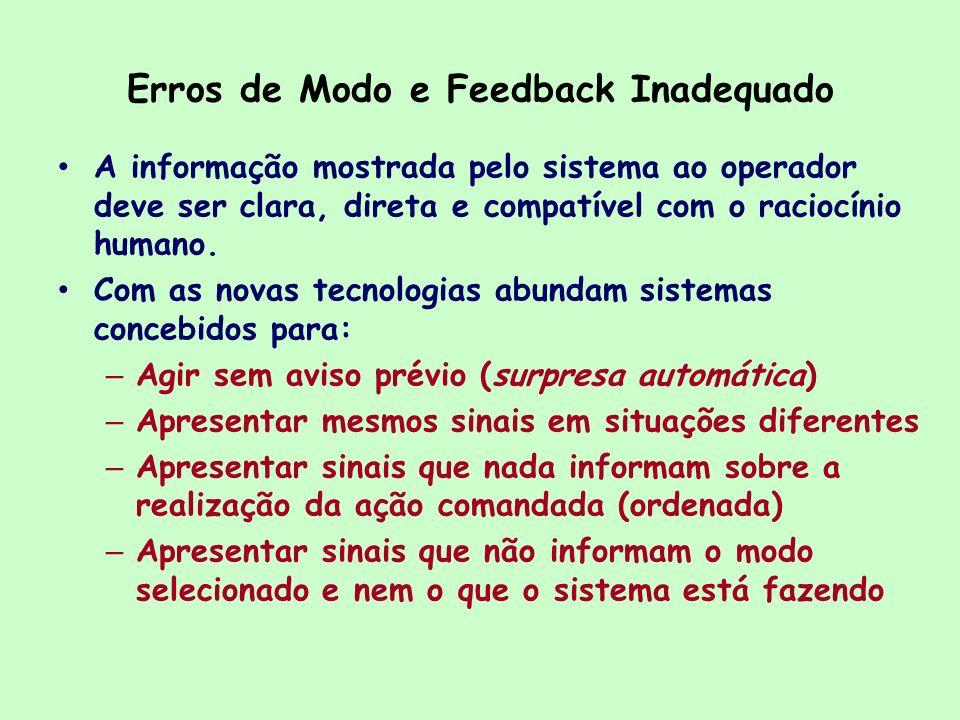 Erros de Modo e Feedback Inadequado A informação mostrada pelo sistema ao operador deve ser clara, direta e compatível com o raciocínio humano. Com as