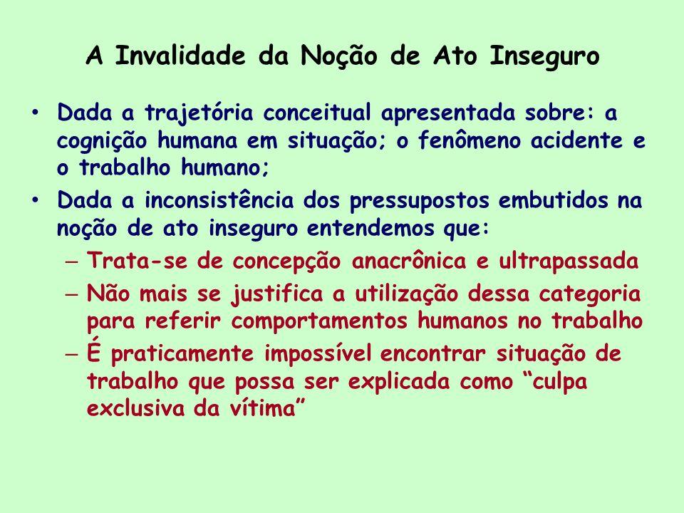 A Invalidade da Noção de Ato Inseguro Dada a trajetória conceitual apresentada sobre: a cognição humana em situação; o fenômeno acidente e o trabalho