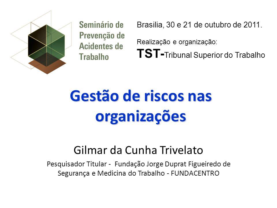 Gestão de riscos nas organizações Gilmar da Cunha Trivelato Pesquisador Titular - Fundação Jorge Duprat Figueiredo de Segurança e Medicina do Trabalho