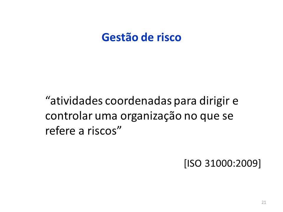 21 Gestão de risco atividades coordenadas para dirigir e controlar uma organização no que se refere a riscos [ISO 31000:2009]