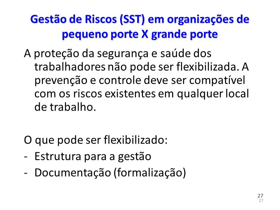 27 Gestão de Riscos (SST) em organizações de pequeno porte X grande porte A proteção da segurança e saúde dos trabalhadores não pode ser flexibilizada