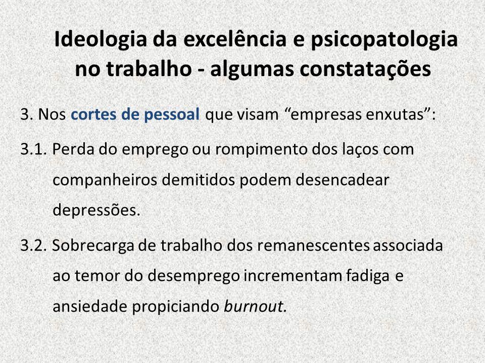 Ideologia da excelência e psicopatologia no trabalho - algumas constatações 3. Nos cortes de pessoal que visam empresas enxutas: 3.1. Perda do emprego