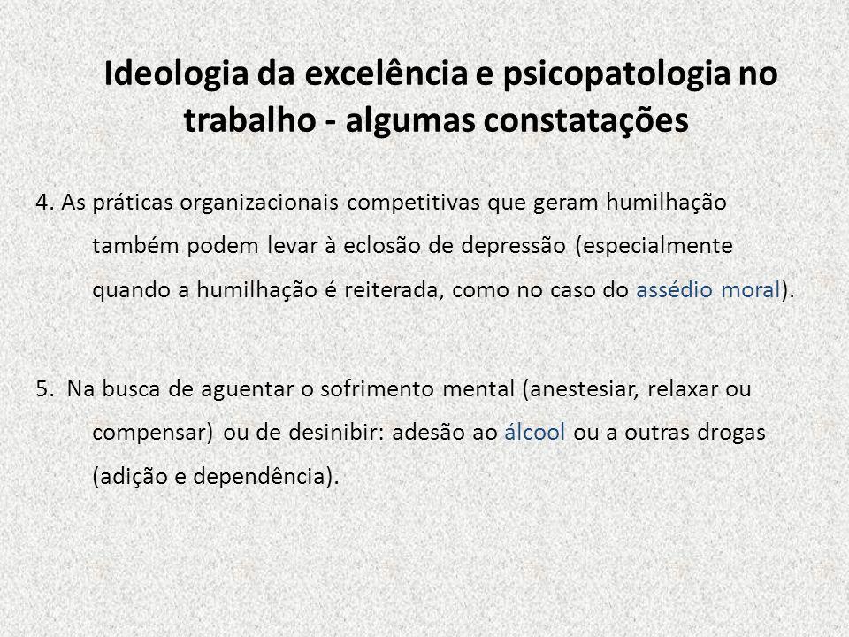 Ideologia da excelência e psicopatologia no trabalho - algumas constatações 4. As práticas organizacionais competitivas que geram humilhação também po