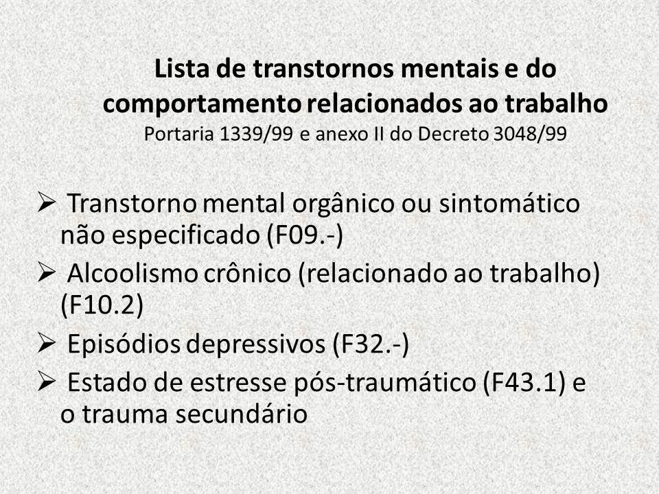Lista de transtornos mentais e do comportamento relacionados ao trabalho Portaria 1339/99 e anexo II do Decreto 3048/99 Transtorno mental orgânico ou