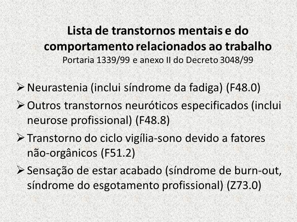 Lista de transtornos mentais e do comportamento relacionados ao trabalho Portaria 1339/99 e anexo II do Decreto 3048/99 Neurastenia (inclui síndrome d