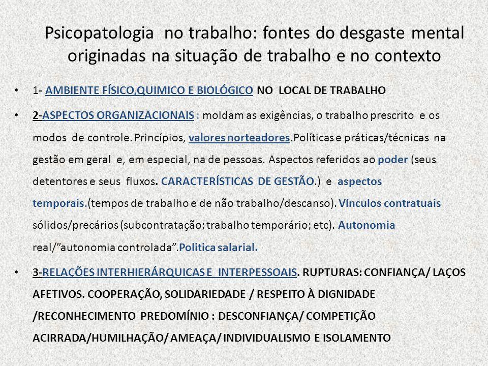 Psicopatologia no trabalho: fontes do desgaste mental originadas na situação de trabalho e no contexto 1- AMBIENTE FÍSICO,QUIMICO E BIOLÓGICO NO LOCAL
