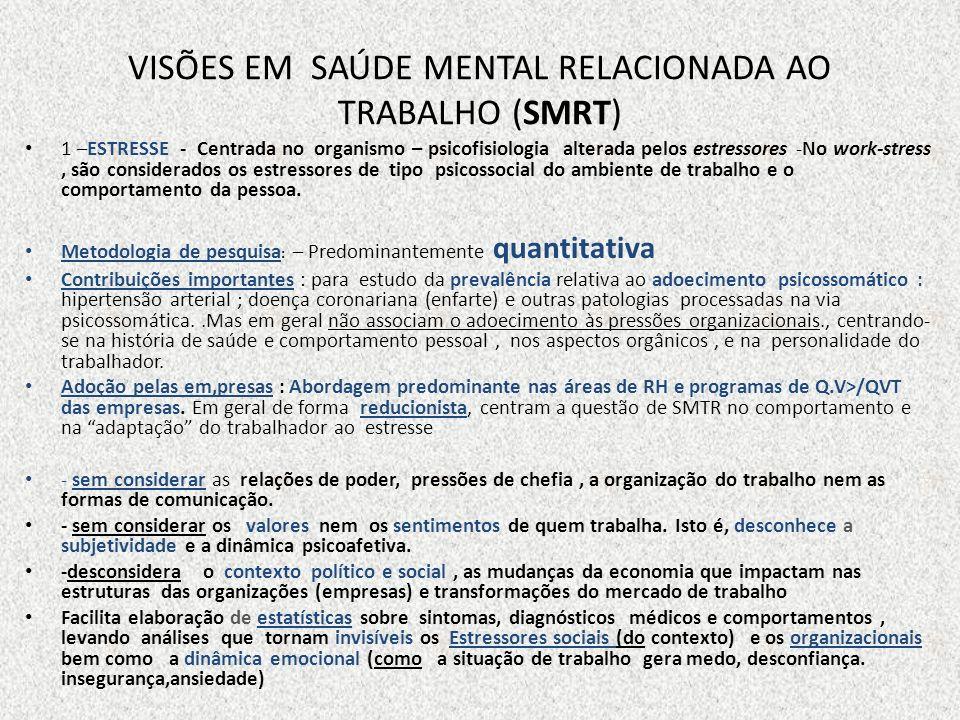VISÕES EM SMRT (2) 2 – PSICODINÂMICA DO TRABALHO (PDT) E OUTRAS PERSPECTIVAS PSICANALÍTICAS.