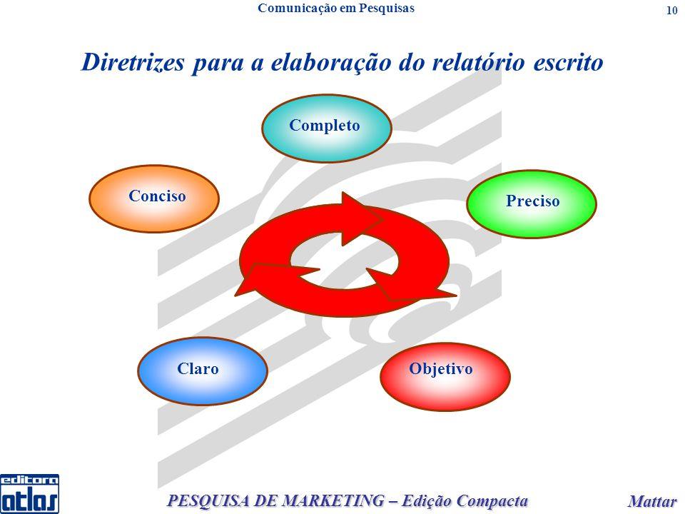 PESQUISA DE MARKETING – Edição Compacta Mattar Mattar 10 Diretrizes para a elaboração do relatório escrito Comunicação em Pesquisas Objetivo Conciso C