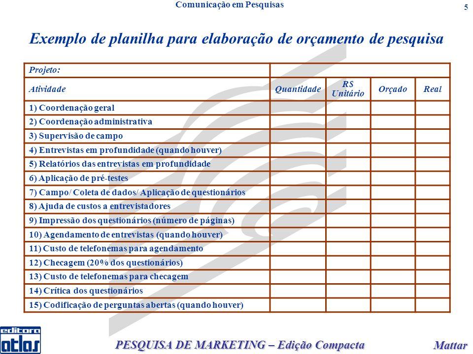 PESQUISA DE MARKETING – Edição Compacta Mattar Mattar 5 Exemplo de planilha para elaboração de orçamento de pesquisa Projeto: AtividadeQuantidade R$ U