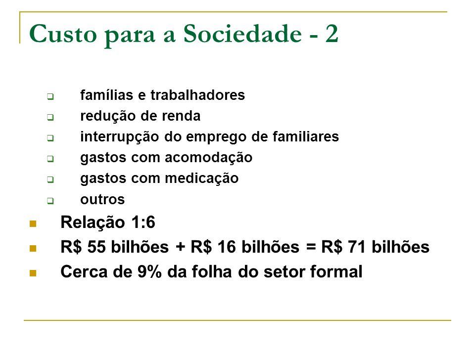 Custo para a Sociedade - 2 famílias e trabalhadores redução de renda interrupção do emprego de familiares gastos com acomodação gastos com medicação o