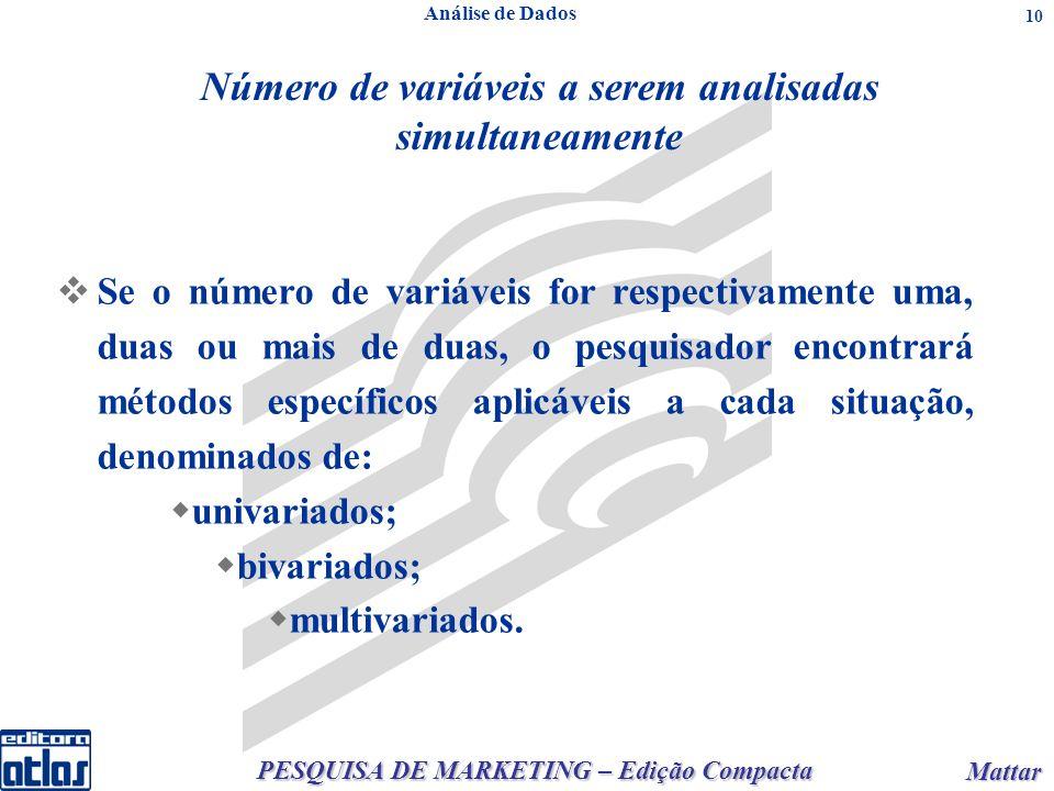 PESQUISA DE MARKETING – Edição Compacta Mattar Mattar 10 Análise de Dados Número de variáveis a serem analisadas simultaneamente Se o número de variáv