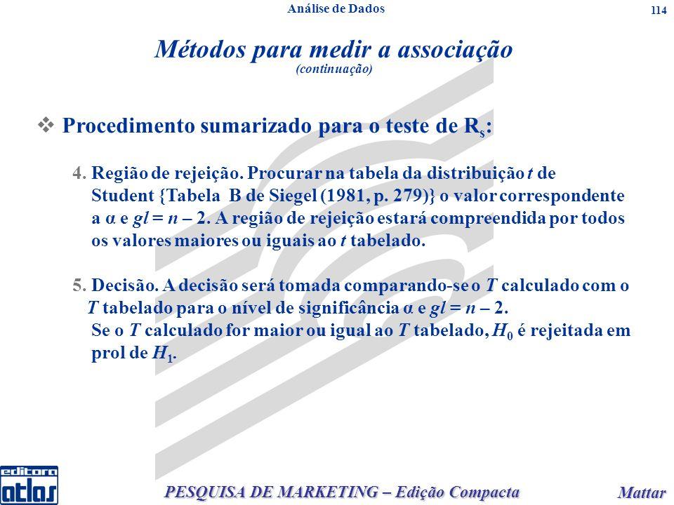 PESQUISA DE MARKETING – Edição Compacta Mattar Mattar 114 4.Região de rejeição.