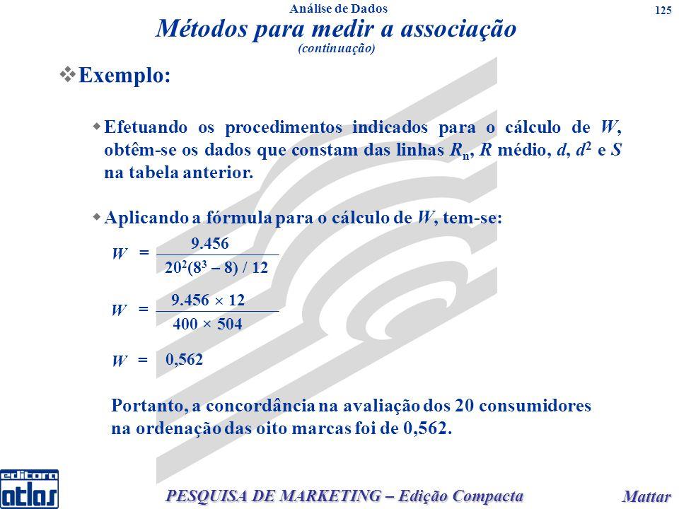 PESQUISA DE MARKETING – Edição Compacta Mattar Mattar 125 Exemplo: Efetuando os procedimentos indicados para o cálculo de W, obtêm-se os dados que constam das linhas R n, R médio, d, d 2 e S na tabela anterior.