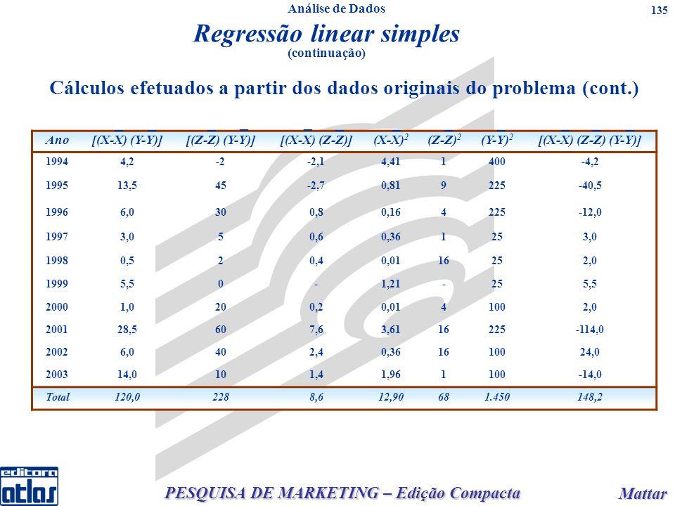 PESQUISA DE MARKETING – Edição Compacta Mattar Mattar 135 Cálculos efetuados a partir dos dados originais do problema (cont.) Ano[(X-X) (Y-Y)][(Z-Z) (Y-Y)][(X-X) (Z-Z)](X-X) 2 (Z-Z) 2 (Y-Y) 2 [(X-X) (Z-Z) (Y-Y)] 19944,2-2-2,14,411400-4,2 199513,545-2,70,819225-40,5 19966,0300,80,164225-12,0 19973,050,60,361253,0 19980,520,40,0116252,0 19995,50-1,21-255,5 20001,0200,20,0141002,0 200128,5607,63,6116225-114,0 20026,0402,40,361610024,0 200314,0101,41,961100-14,0 Total120,02288,612,90681.450148,2 Regressão linear simples (continuação) _______ _ _ ___ Análise de Dados