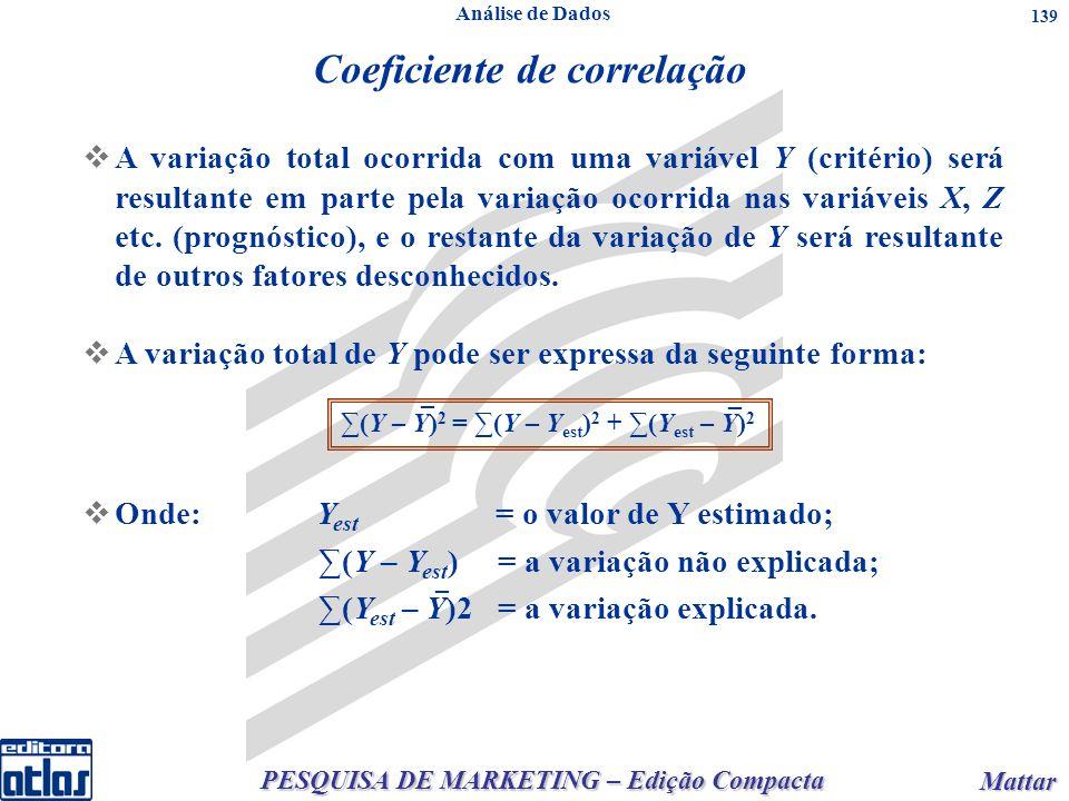 PESQUISA DE MARKETING – Edição Compacta Mattar Mattar 139 n qualquer: onden qualquer:onde Coeficiente de correlação A variação total ocorrida com uma variável Y (critério) será resultante em parte pela variação ocorrida nas variáveis X, Z etc.