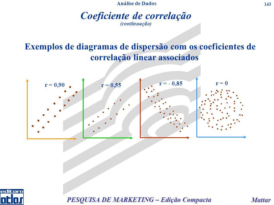 PESQUISA DE MARKETING – Edição Compacta Mattar Mattar 143 Exemplos de diagramas de dispersão com os coeficientes de correlação linear associados r = 0,90 r = 0 r = 0,55 r = - 0,85 Coeficiente de correlação (continuação) Análise de Dados