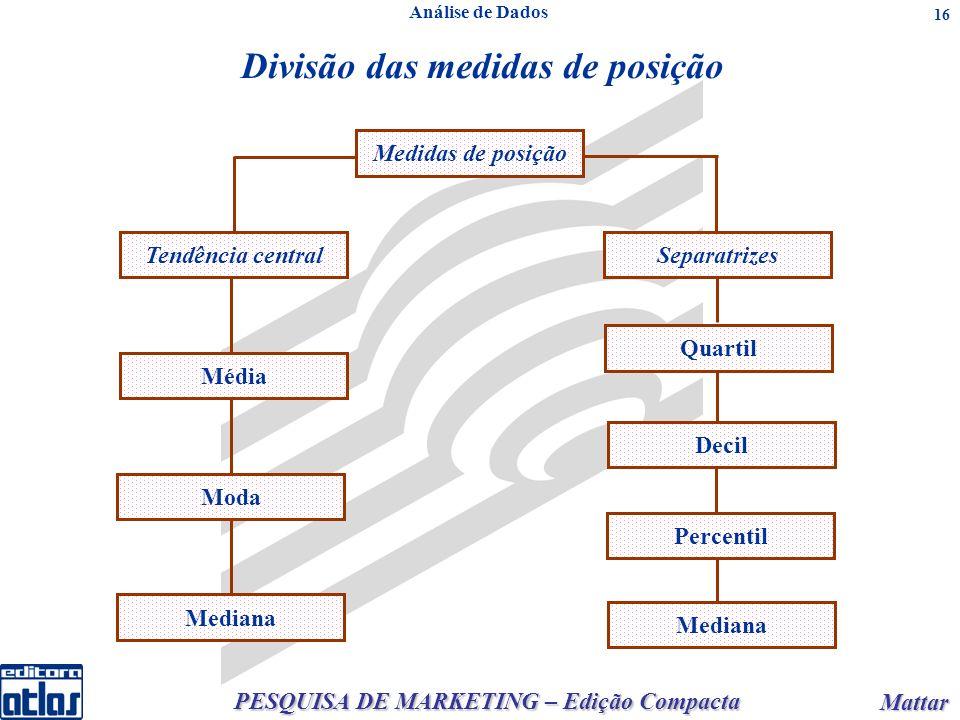 PESQUISA DE MARKETING – Edição Compacta Mattar Mattar 16 Análise de Dados Medidas de posição Tendência central Média Moda Mediana Separatrizes Quartil