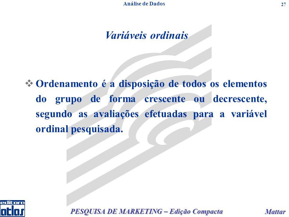 PESQUISA DE MARKETING – Edição Compacta Mattar Mattar 27 Análise de Dados Ordenamento é a disposição de todos os elementos do grupo de forma crescente