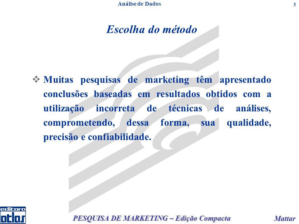 PESQUISA DE MARKETING – Edição Compacta Mattar Mattar 3 Escolha do método Análise de Dados Muitas pesquisas de marketing têm apresentado conclusões ba