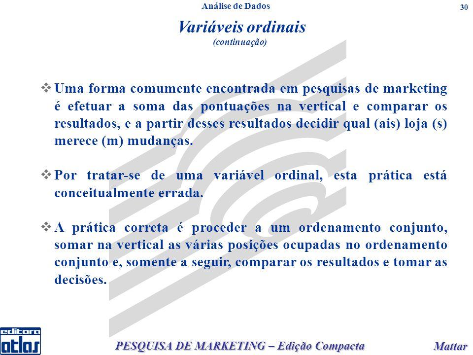 PESQUISA DE MARKETING – Edição Compacta Mattar Mattar 30 Análise de Dados Variáveis ordinais (continuação) Uma forma comumente encontrada em pesquisas