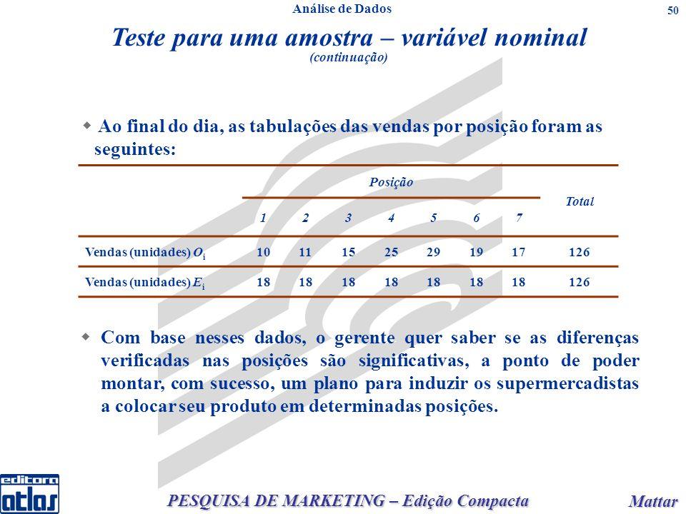 PESQUISA DE MARKETING – Edição Compacta Mattar Mattar 50 Posição Total 1234567 Vendas (unidades) O i 10111525291917126 Vendas (unidades) E i 18 126 Co