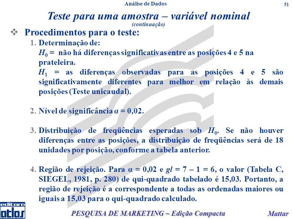 PESQUISA DE MARKETING – Edição Compacta Mattar Mattar 51 Procedimentos para o teste: 1.Determinação de: H 0 = não há diferenças significativas entre as posições 4 e 5 na prateleira.