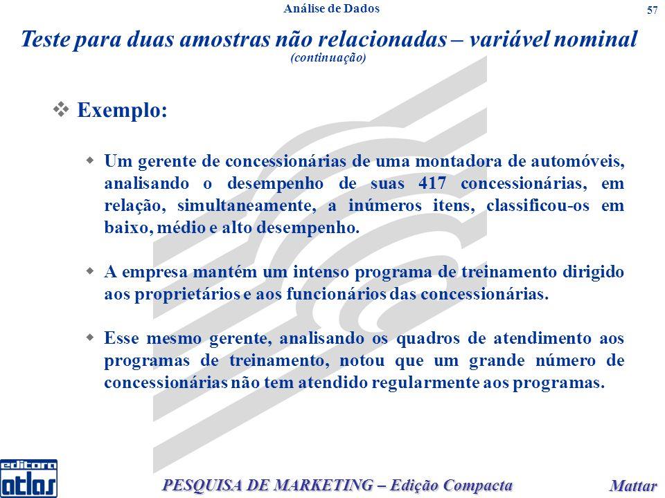 PESQUISA DE MARKETING – Edição Compacta Mattar Mattar 57 Exemplo: Um gerente de concessionárias de uma montadora de automóveis, analisando o desempenh