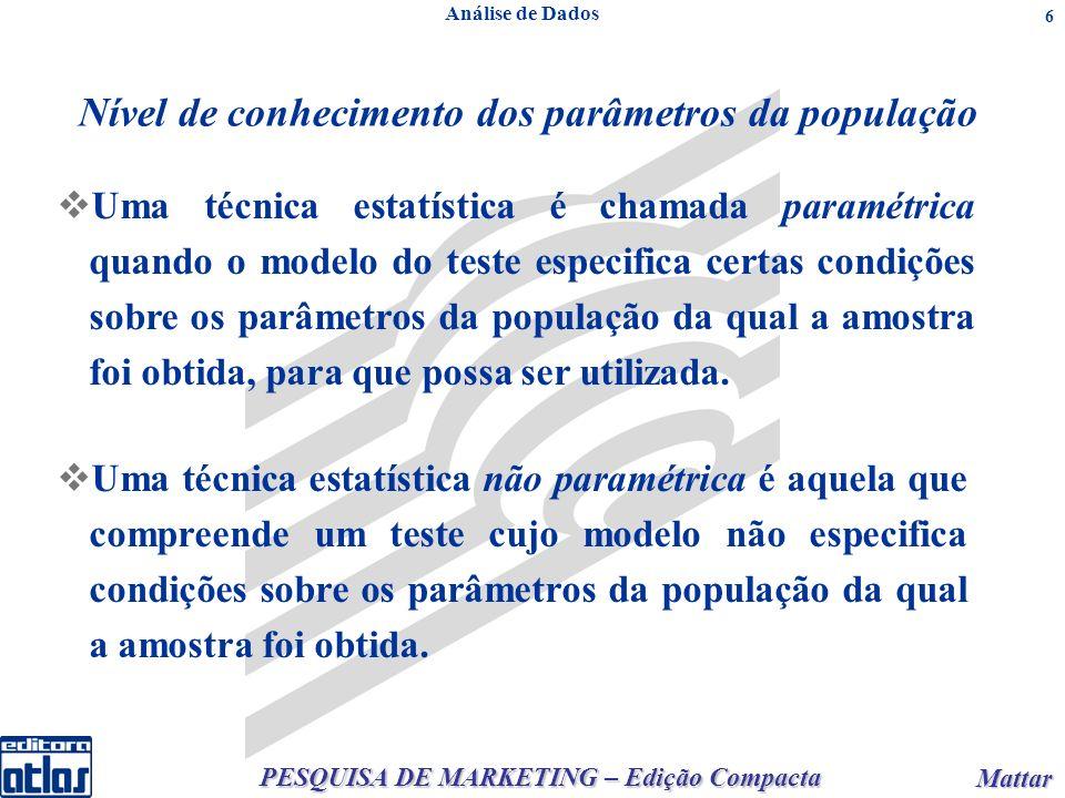 PESQUISA DE MARKETING – Edição Compacta Mattar Mattar 6 Análise de Dados Nível de conhecimento dos parâmetros da população Uma técnica estatística é chamada paramétrica quando o modelo do teste especifica certas condições sobre os parâmetros da população da qual a amostra foi obtida, para que possa ser utilizada.