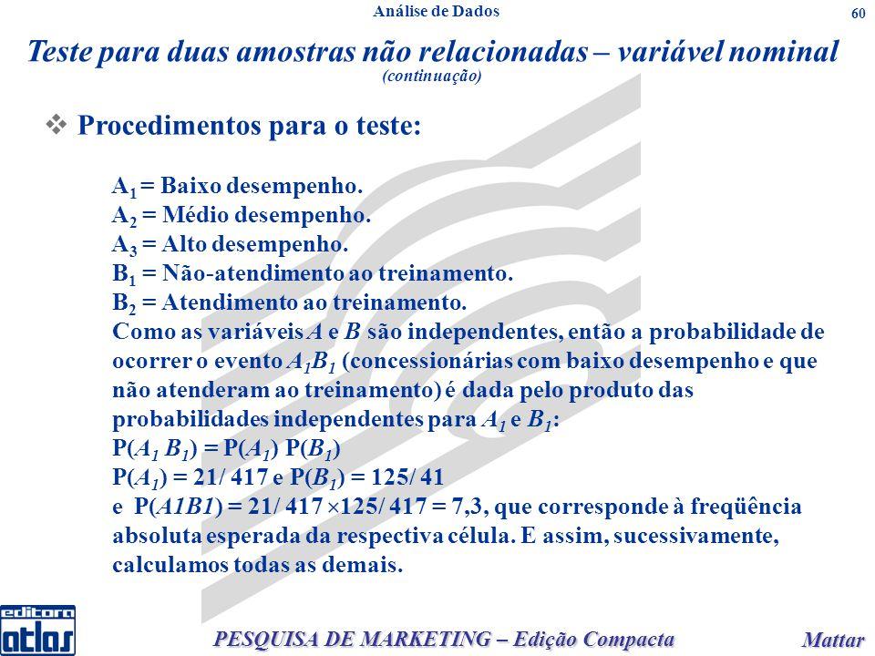 PESQUISA DE MARKETING – Edição Compacta Mattar Mattar 60 Procedimentos para o teste: A 1 = Baixo desempenho.